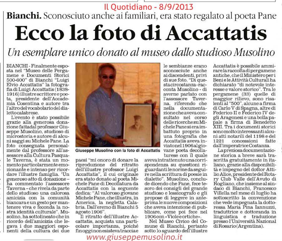 Articolo su Il Quotidiano dell' 8 settembre 2013