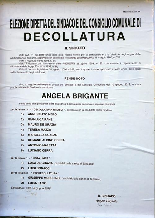 Manifesto risultati elezioni comunali